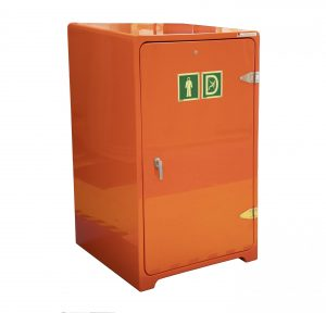 JB29 wind turbine escape equipment cabinet in orange colour showing exterior signage