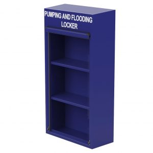 Pumping and Flooding locker in blue RAL 5002 with door open